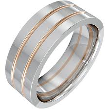 top gold rings images Plain wedding ring for men in 18ct white gold with two rose gold png