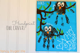 handprint owl canvas u0026 photo canvas our homemade father u0027s day