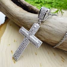 steel cross necklace images Thin cz cross pendant 925 silver necklace jpg