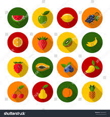 set different fruits berries icons flat stock vector 507846472