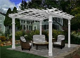 White Vinyl Pergola by Exterior Design White Pergola Plans On Brown Floor For Patio Ideas
