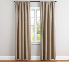 White And Brown Curtains Emery Linen Cotton Pole Pocket Drape Blue Pottery Barn