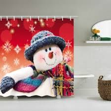 Snowman Shower Curtain Target Red White W59 Inch L71 Inch Christmas Snowman Snowflakes