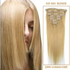 Light Golden Blonde Hair Color Inch Straight Clip In Human Remy Hair Extensions 24 Light Golden
