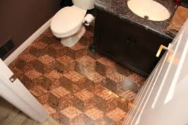 here is the final penny floor update we finished the bathroom