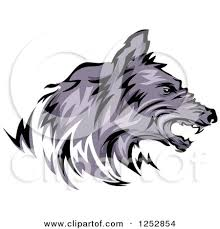 clipart of a growling wolf in profile royalty free vector