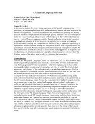 ap spanish language sample essays ap spanish language syllabus richland school district two