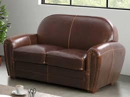 canapé 2 places en cuir canapé et fauteuil en cuir vieilli 3 coloris baudoin