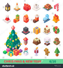 new year items christmas new year isometric set isolated stock vector 342737282
