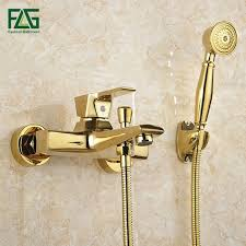 Tub Faucet With Handheld Shower Aliexpress Com Buy Flg Wall Mounted Antique Brass Brushed Gold