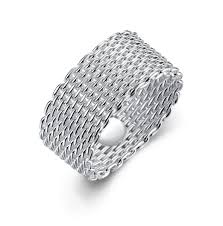 silver mesh bracelet with images Mesh woven ring sterling silver 925 png
