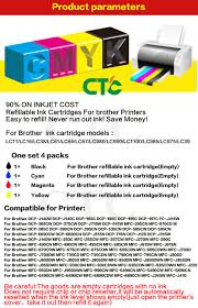 brother printer mfc j220 resetter compitalbe lc39 lc980 lc60 lc985 lc1100 refillable ink cartridge for