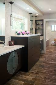 White Pebble Tiles Bathroom - white pebble tile bathroom contemporary with brick pattern brown