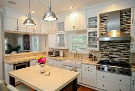 rustic alder kitchen cabinets with clean cream quartz countertops