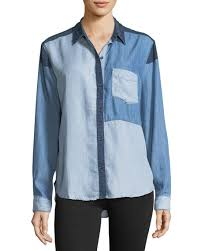 chambray blouse rails zoey colorblocked button front chambray shirt neiman