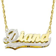3d nameplate necklace 14k two tone gold personalized plate 3d name necklace