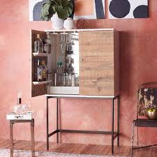 reclaimed wood lacquer bar cabinet west elm interior design