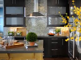 modern stone kitchen tile backsplash with wooden island with dark