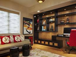 asian home office with custom shelving by arnold schulman design