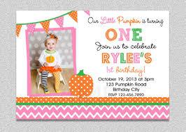 pink and orange pumpkin birthday invitation pumpkin 1st birthday