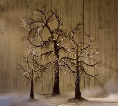 lit spooky twig trees pottery barn