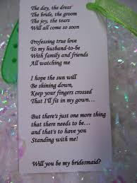 poems to ask bridesmaids bridesmaids poems