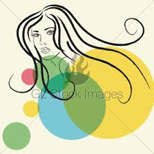 sketch of woman u0027s face gl stock images