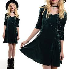 vtg 90s dark green crushed velvet goth grunge dolly skater mini