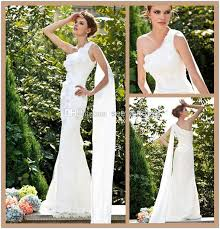 greek goddess style lace wedding dresses with ribbon one shoulder