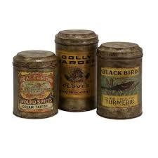 kitchen storage canisters sets filament design lenor 8 in galvanized vintage label canister set