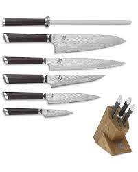 shun kitchen knives shun fuji 7 knife block set williams sonoma