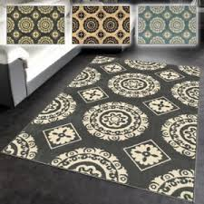 3x5 Area Rug Rubber Backed Medallion Design Non Slip Contemporary Area Rug