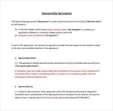 sample sponsorship agreement sponsorship agreement template