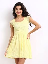 yellow lace frock dress apparel for women this summer on myntra