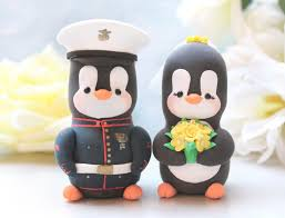 wedding cake toppers military penguins us marine dress blue