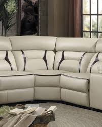 Beige Leather Loveseat Homelegance Amite Power Reclining Sectional Set Beige Leather