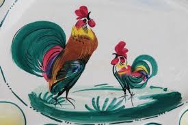 deviled egg serving tray vintage painted italian cermaic egg plate w roosters