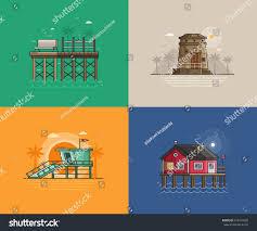 travel seaside landscapes set different sea stock vector 622479938