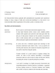 cv template for graduate students