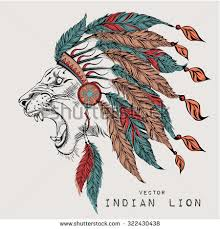 lion colored indian roach indian feather stock vector 322430438