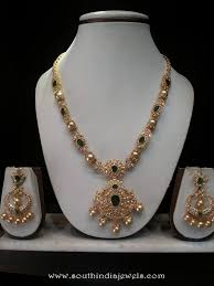 emerald gold necklace jewelry images Gold cz emerald necklace set with sri ram jewellery south india jpg