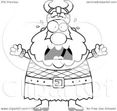 cartoon clipart of a black and white scared viking man vector