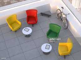 modern meeting room with four swivel chairs skateboard and modern meeting room with four swivel chairs skateboard and mountain bike 3d rendering