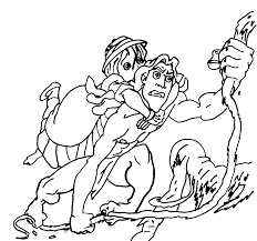 jane ask kalas child to came down in tarzan movie coloring page