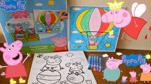 peppa pig coloring pages for kids toys review learn colors and