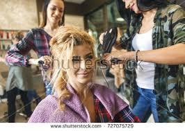 hair dresser s day working day inside hair salon hairdressers stock photo 736247182