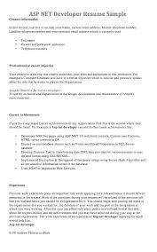 Sql Server Developer Resume Sample by Asp Net Developer Resume Sample Resumedoc