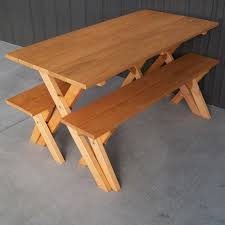 Orange Table L A L Furniture Pine Cross Legged Picnic Table With Benches