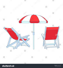 Beach Umbrella And Chair Vector Red Deck Chairs Under Beach Stock Vector 275589188