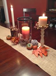 two it yourself fall table decorations on a burlap runner